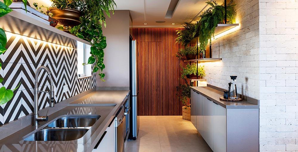 Área gourmet no melhor estilo Urban Jungle