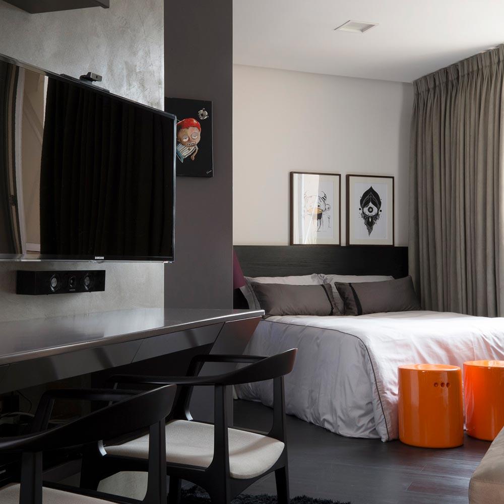 Apartamento de 27 m² tem cara de loft moderno