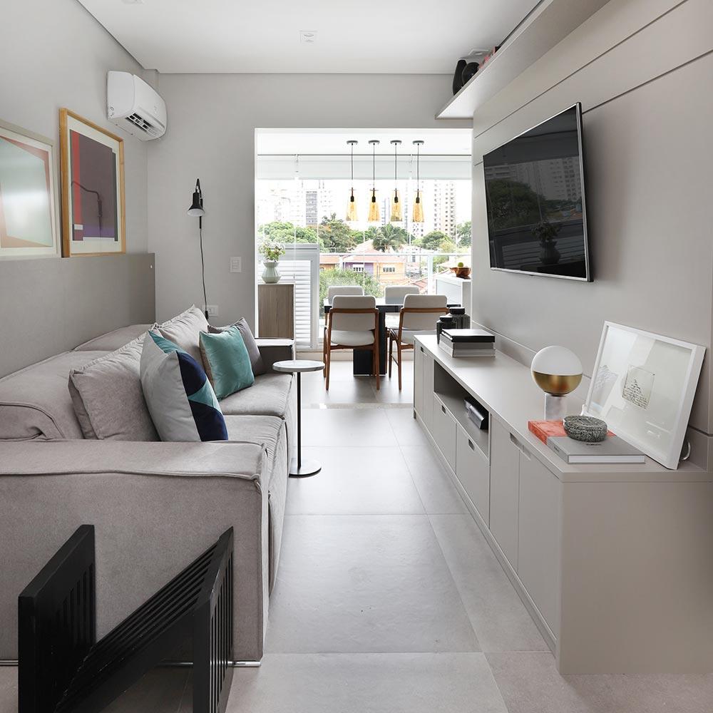 Apartamento de 41 m² tem cozinha na varanda