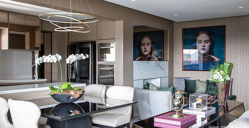 Apartamento de 130 m² aposta em cores que remetem à natureza