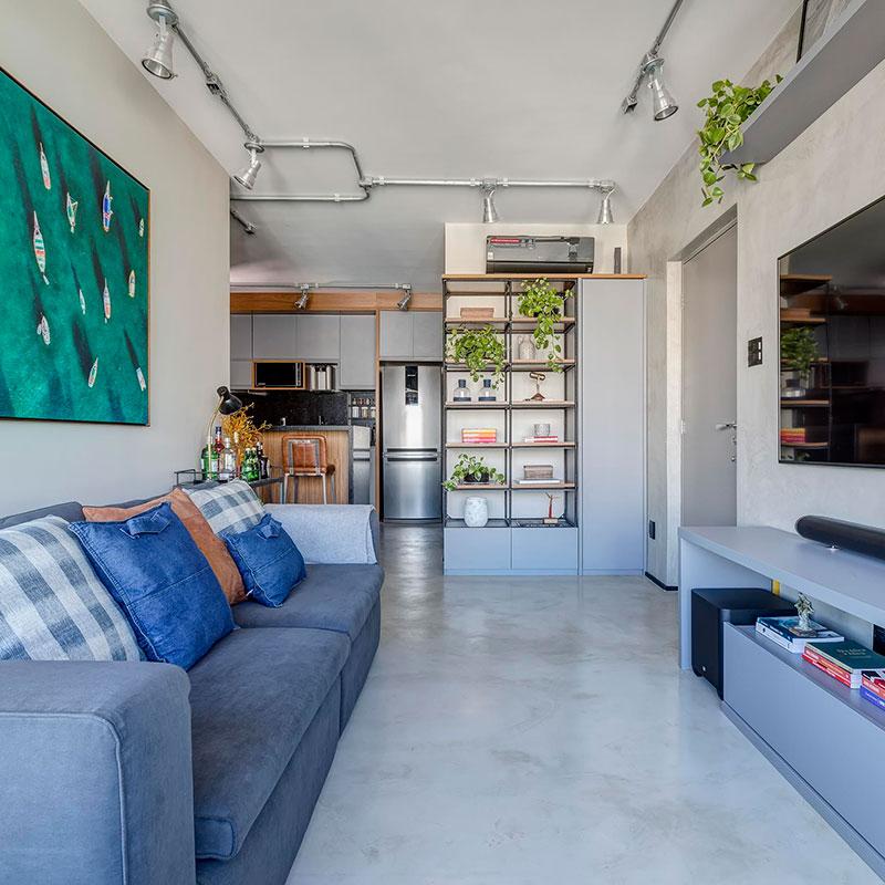 Um apartamento todo com décor industrial