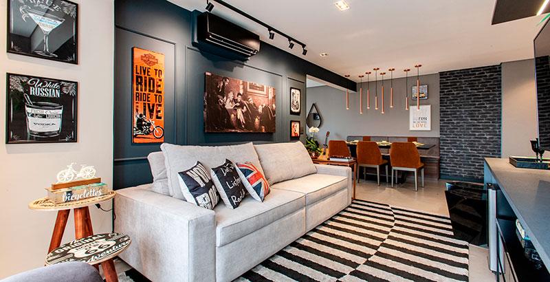 Apartamento de 70 m² tem décor todo inspirado no rock