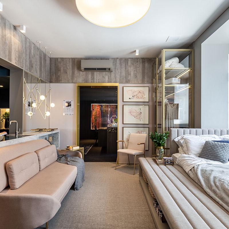 MDF traz mix de texturas a loft elegante
