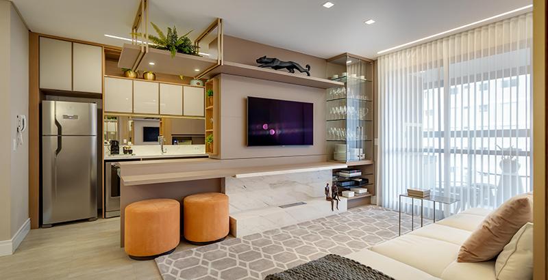 Tons neutros marcam o décor de apartamento de 100 m² feitp para jovem advogada