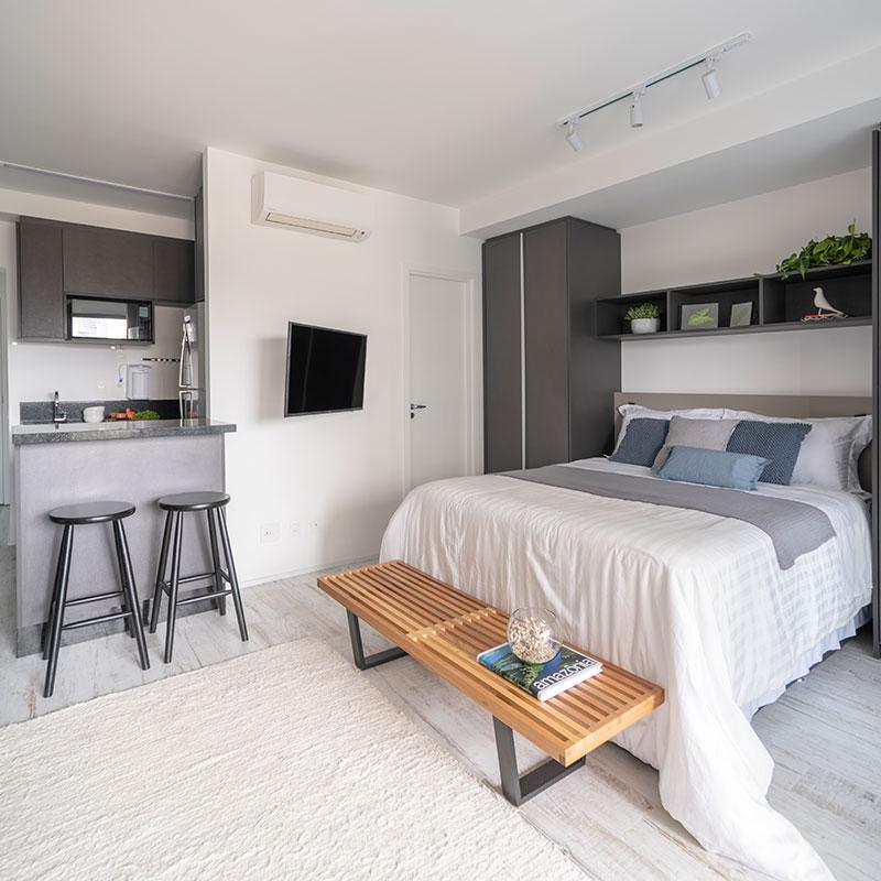 Apartamento de 41 m² se adapta a vários tipos de moradores