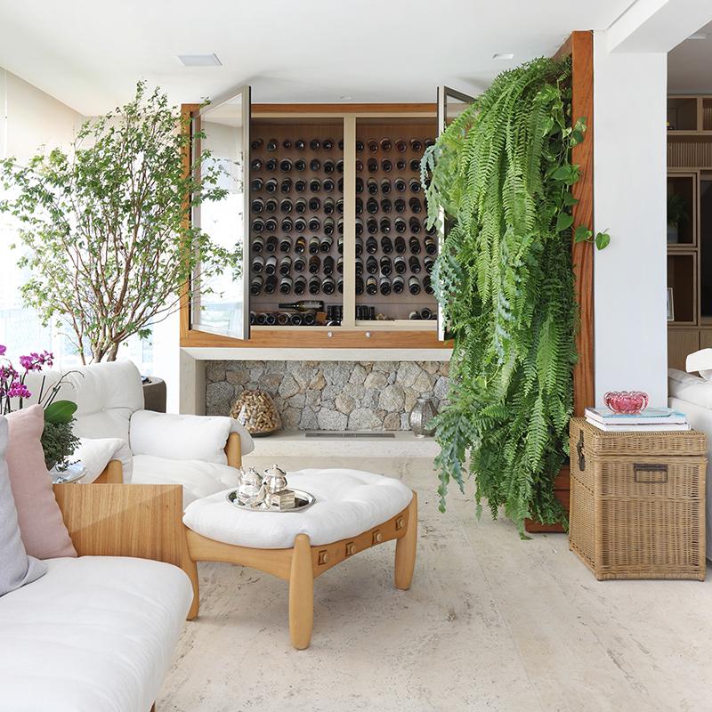 Apartamento tem jabuticabeira na varanda e parede verde