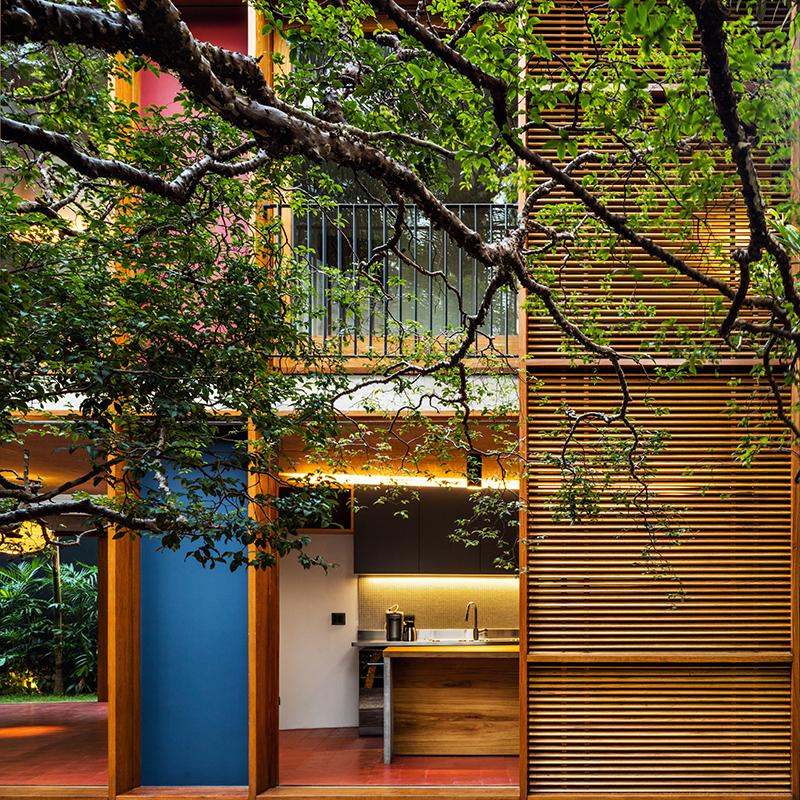 Casa repleta de árvores de grande porte possui piscina na cobertura