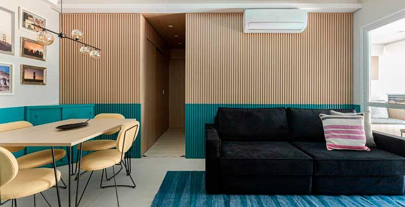 Apê de 68 m² ganha personalidade com parede de duas cores