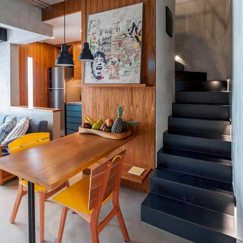 Apê de 60 m² tem décor contemporâneo e industrial
