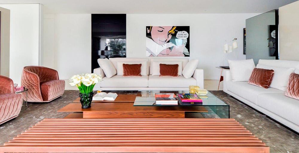 Apartamento de 400 m² ganha divisórias soltas para setorizar a área social