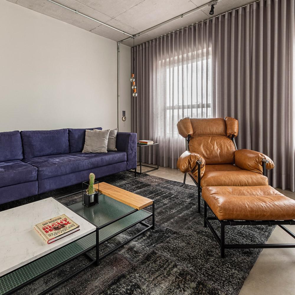 Apartamento integrado com toque industrial