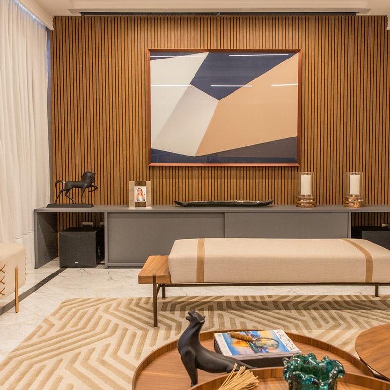 Apartamento de 66 m² tem sala de cinema e área para degustação de vinhos
