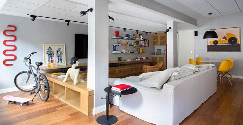Garagem se transforma em sala multiuso