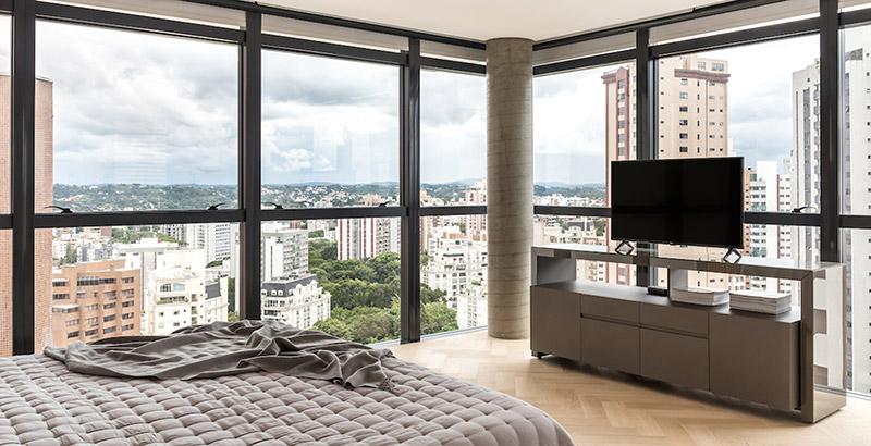 Apartamento de 200 m² em Curitiba privilegia a vista para a Serra do Mar